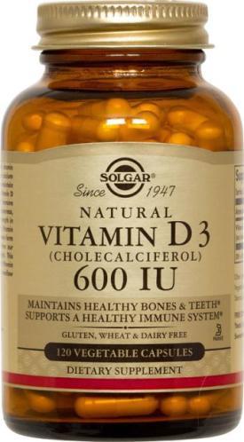 Vitamin D3 (Cholecalciferol) 600 IU Vegetable 120 Capsules